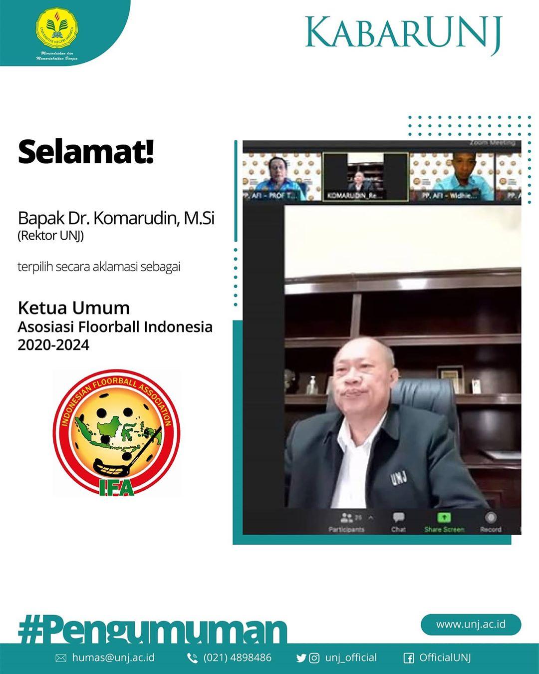 Rektor UNJ terpilih sebagai Ketua Umum Asosiasi Floorball Indonesia Tahun 2020-2024