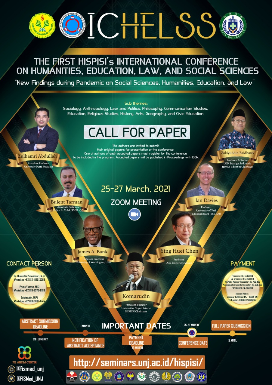 The 1st HISPISI International Conference on Humanities, Education, Law, and Social Sciences.