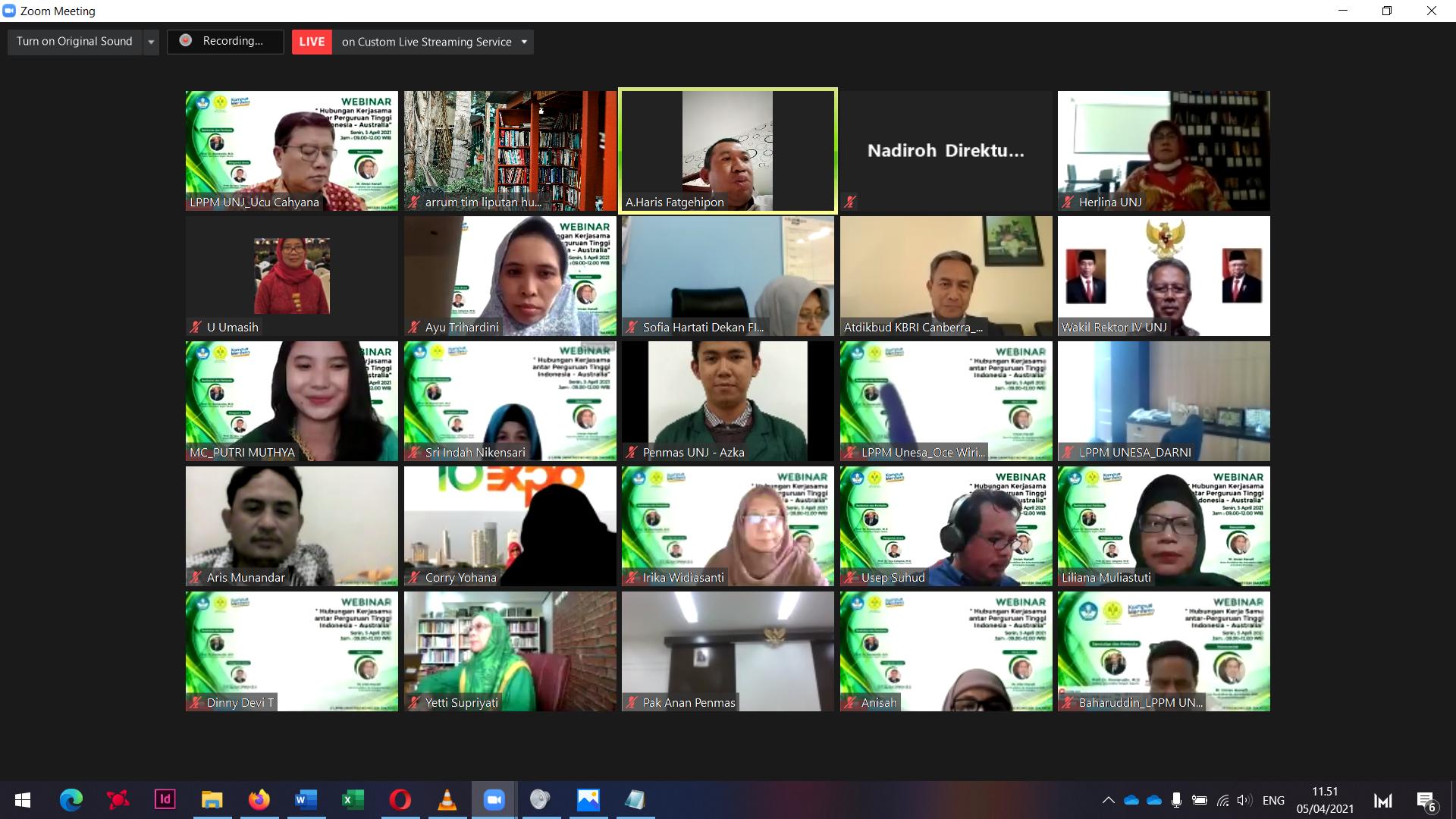Webinar Hubungan Kerja sama antar Perguruan Tinggi Indonesia – Australia, sebagai pintu masuk menuju Universitas bereputasi di Kawasan Asia